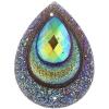 Resin Sew-on Peacock Stones 10pcs 30x40mm Drop Brown Aurora Borealis